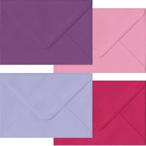 Pink And Purple Pack Of 100 C6 Gummed Envelopes In Four Pink/Purple Colours