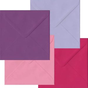 Pink And Purple Pack Of 100 S4 Gummed Envelopes In Four Pink/Purple Colours