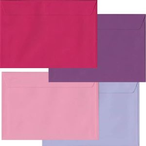 Pink And Purple Pack Of 100 C5 Peel/Seal Envelopes In Four Colours