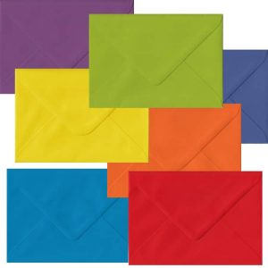 Rainbow Pack Of 105 C6 Gummed Envelopes In Seven Different Colours