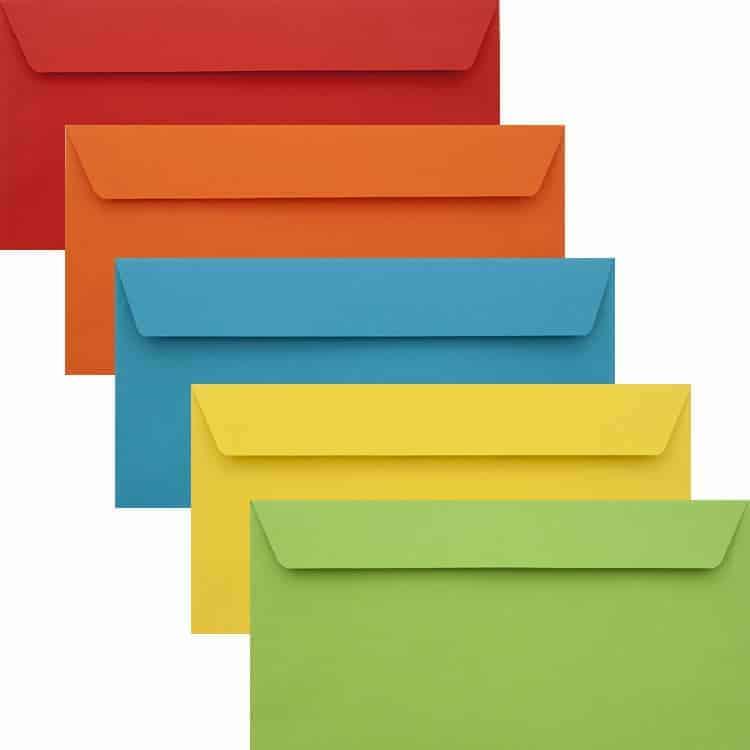 Premium Colour Pack Of 50 Vibrant DL Peel/Seal Luxury 120gsm Envelopes