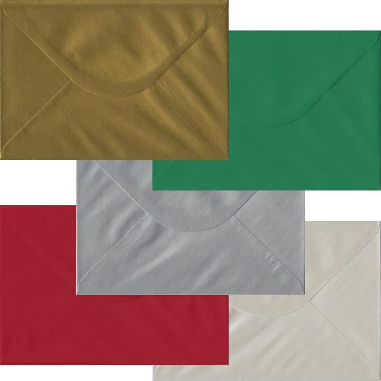 Xmas Pack Of 50 C5 Gummed Envelopes In Five Festive Colours
