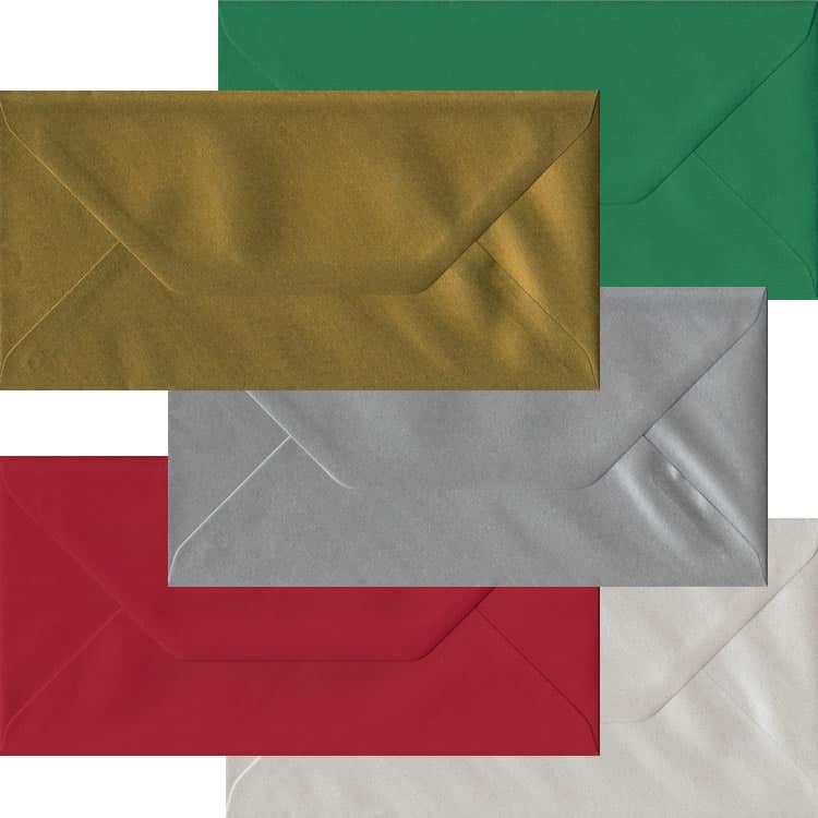Xmas Pack Of 50 DL Gummed Envelopes In Five Festive Colours