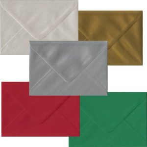 Xmas Pack Of 50 C6 Gummed Envelopes In Five Festive Colours