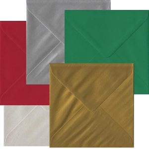 Xmas Pack Of 50 S4 Gummed Envelopes In Five Festive Colours